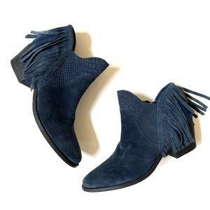 Reba navy blue suede Derbie fringe booties